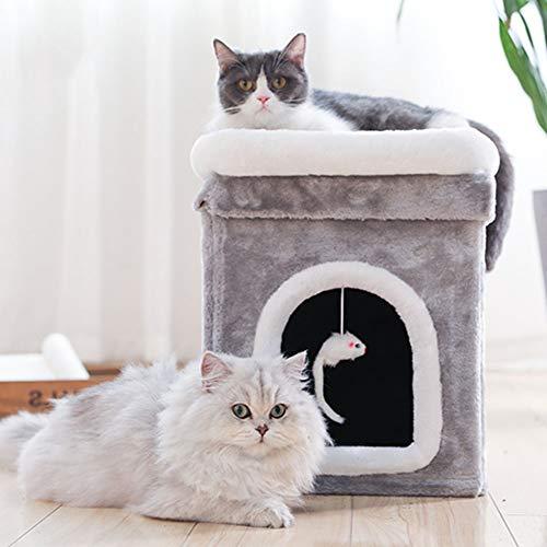 ZZQ Katze Klettern Baum Rahmen Möbel Kätzchen Haus Kratzbaum Spielzeug für Katzen Kätzchen Spielhaus Katze Springen Spielzeug,L -