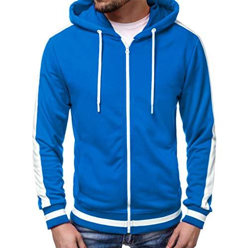 Skxinn Herren Sweatjacke Kapuzenjacke,Männer Herbst Winter Langarm Patchwork Hoodie Oberteile mit Reißverschluss,Streetwear Sweatshirts Mantel Slim Fit Jacke Tops Ausverkauf(Blau,X-Large) -