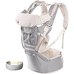 Portabebés Ergonómico, 4 en 1 Portador Bebé Mochila Portabebé de 0 a 20 kg (Gris)