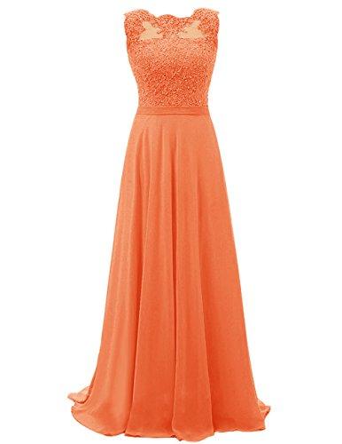 Dresstells Robe de cérémonie Robe de demoiselle d'honneur sans manches longueur ras du sol Orange