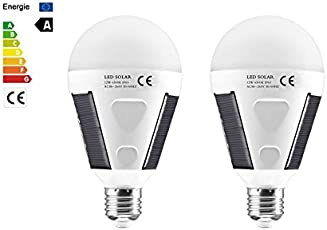 Quace 720LM E27 Solar LED Light Bulb, 12W Portable Rechargeable Lights Lamp for Indoor & Outdoor