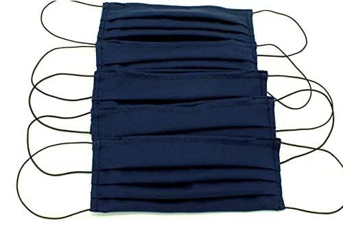 5 Mascherine artigianali blu in doppio strato di puro cotone con tasca per inserimento ulteriore protezione(elastici neri)