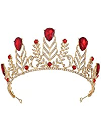 ZANHUI Vintage Lusso Corona Sposa Lega Rosso Viola Verde Blu Strass Sposare  Barocco 678b07e0f391