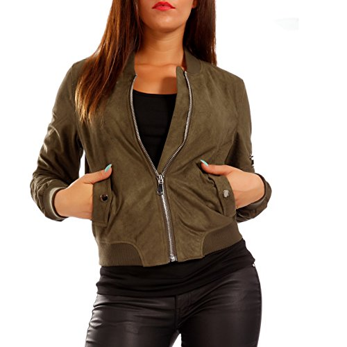 Young-Fashion Damen Bomberjacke Jacke in Wildleder-Optik, Farbe:Khaki;Größe:34