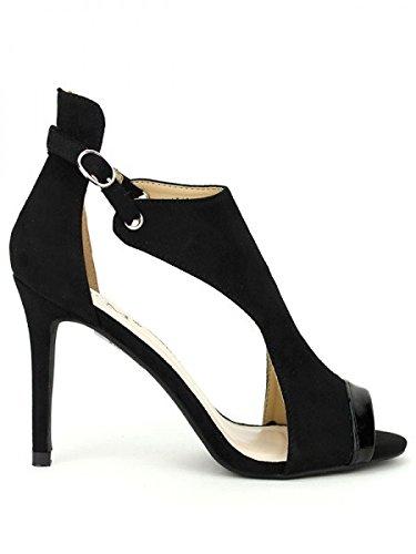 Cendriyon, Sandale Black C'M MODA Chaussures Femme Noir