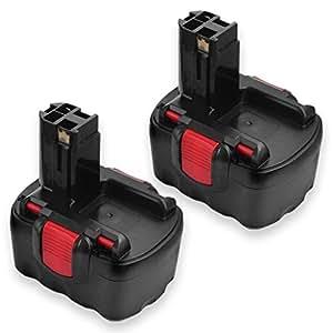 FLOUREON Lot de 2 Ni-MH Batteries pour Bosch 13614 22614 33614 3660CK 53514 GDR GLI GSR GST GWS PAG PSR 14.4V 3000mAh
