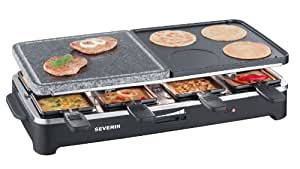 Severin - 2341 - Raclette multifonctions - gril - 4 mini crêpes - pierre de cuisson - 1500 W - 8 poêlons - noir