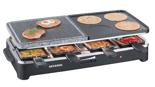 Severin Raclette Party Grill with Natural Grill Stone and 8 Mini Pans, 1500 Watt, Black
