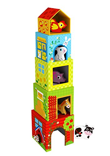 Tooky Toy - Cubos apilables de Cartón, Diseño Granja....