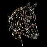 Strass Motiv Pferdekopf Bügelbild transfermotiv strassbild Pferd Strasssteine