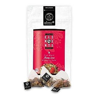 alveus® Berry Love Superior Organics Elements: Teemischung mit Apfel, Brombeerblättern, Hibiscus, Orangenschalen, natürliches Aroma, Erdbeere, Holunderbeere, Tüte mit 15 Pyramidenbeutel à 3g