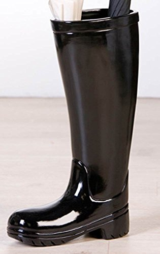 Dekorativer Stiefel als Schirmständer schwarz Gummistiefel Blickfang Eyecatcher Schirmhalter