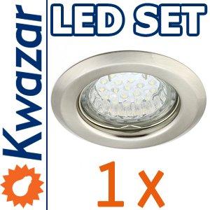 SUPER SET: K-15 Einbaustrahler + LED Lampe 20p /20W + GU10 Fassung 230V