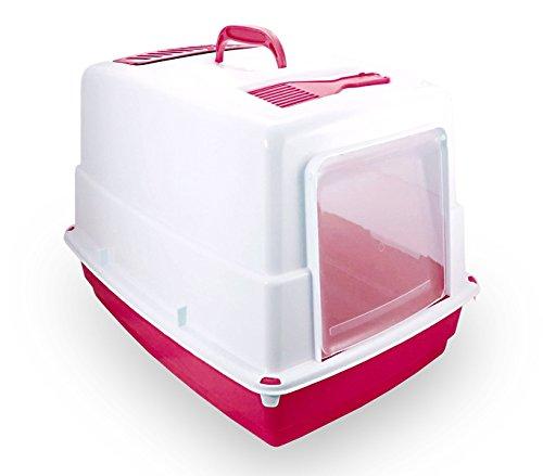 10580 Toilette per gatti HEIDI chiusa porta basculante carboni attivi 54x39x39cm. MEDIA WAVE store ® (Fucsia)