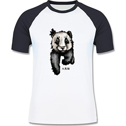 """Wildnis - Panda mit chinesischen Schriftzeichen für Panda übersetzt """"große Bär-Katze"""" - zweifarbiges Baseballshirt für Männer Weiß/Navy Blau"""