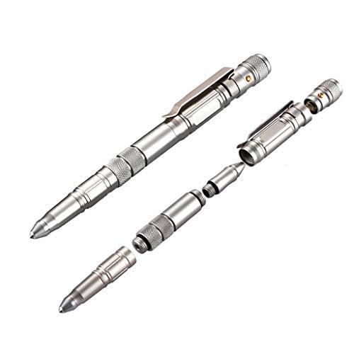 WGE Tactical Pen Multifunktionswerkzeug mit Kugelschreiber, Glasbrecher, aus Flugzeug Aluminium - für Jede Extremsituation,Coffeegold