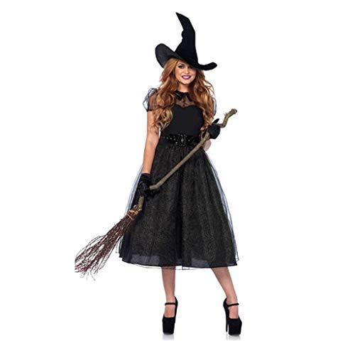 Sexy Hexe Kostüm Böse - chenpaif Frauen schwarz böse Hexe Cosplay Kostüm sexy Gürtel Taille Midi langes Kleid mit Hut Handschuhe Halloween Maskerade Party Requisiten schwarz M