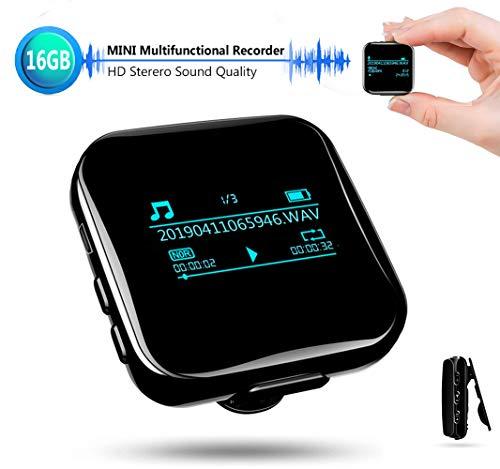 Mini Spionage Diktiergerät Recorder Stimmenaktivierung 16GB Aufnahmegerät, 25 Stunden Akku, 118 Stunden Aufnahmekapazität, Bluetooth MP3 Player, USB-Anschluss für Interviews Meetings Sport