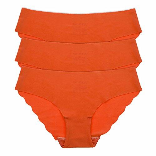 La Isla Damen 3er Pack Komfort Slip - Tailored No Show Low Rise Bikini Hipster Orange