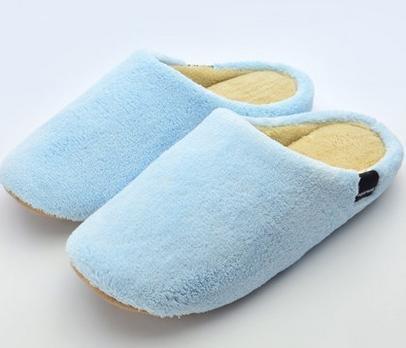 Maison pantoufles de coton velours corail intérieur maison, les chaussures, les hommes et les femmes automne et hiver couple mignon female blue