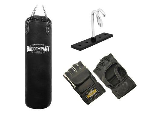 Pro MMA-Set inkl. Boxsack 100 x 35cm gefüllt, PU MMA Handschuhen, Deckenhalterung und Heavy Duty Vierpunkt-Stahlkette