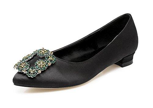 Swallowuk Damen Mädchen Mode Schuhe Flache Ferse Bling Kristall Ballett Prinzessin Schuhe (37, schwarz)