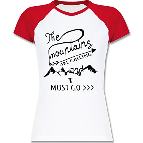 Shirtracer Wintersport - The Mountains Are Calling - Zweifarbiges Baseballshirt/Raglan T-Shirt für Damen Weiß/Rot