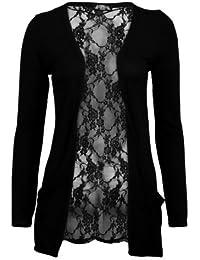 (womens black lace back boyfriend cardigan (aqa) Frauen schwarz schnüren zurück boyfriend Strickjacke (36/38 (uk 8/10), black)