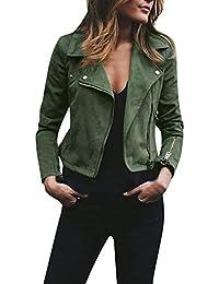 DEELIN Femmes Dames De Mode Rétro Rivet Zipper Up Bomber Veste Blouson  Casual Slim Fit Manteau 9fe428583d51