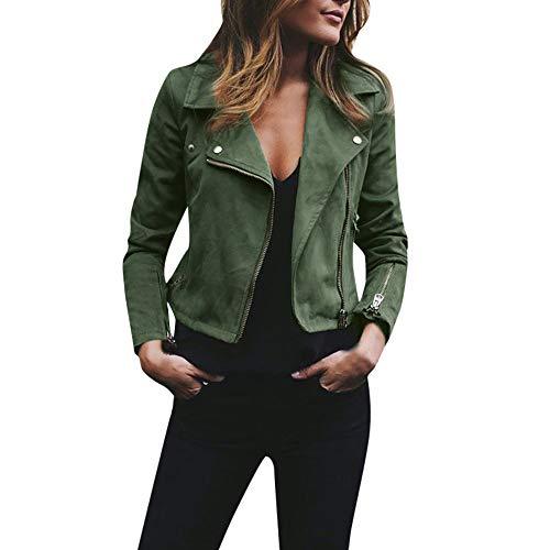 MERICAL Damen Retro Rivet Reißverschluss Bomberjacke Mantel Outwear