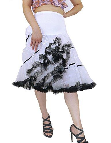 Dresstells 50s Petticoat Reifrock Unterrock Petticoat Underskirt Crinoline für Rockabilly Kleid White Black - 3