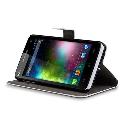 kwmobile Custodia portafoglio per Wiko Rainbow 3G / 4G - Cover a libro in simil pelle Flip Case con porta carte funzione appoggio nero motivo floreale blu nero bianco Envío Libre Confiable kqfwz