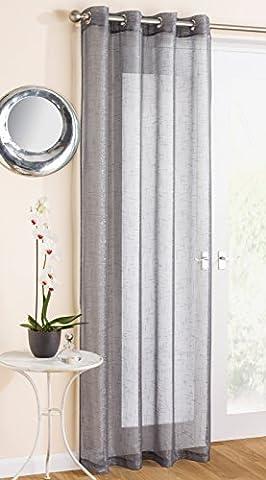 Grey Metallic Shimmer Eyelet / Ring Top Voile Curtain Panel - 54