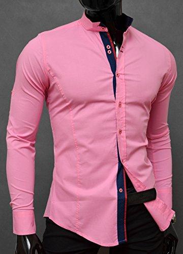 D&R Fashion Camisa la manera los hombres elegantes con cuello alto y decorativo fijación Slim Fit muchos colores Rosa claro