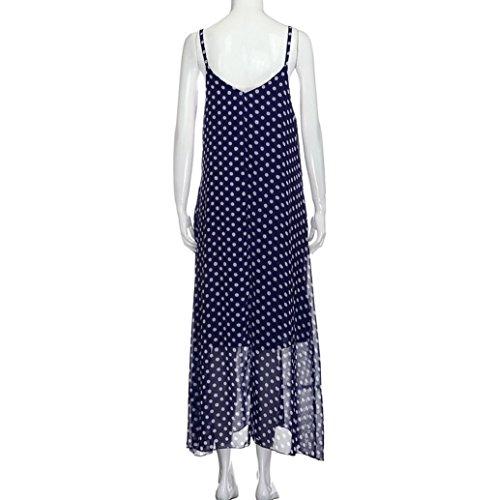 Sommer langes Kleid Boho Kleid Strandkleid Damen Rosennie Chiffon Dot Druck  Kleid Blau