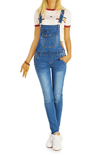 bestyledberlin Damen Latzhosen, Jeans-Trägerhosen, Slim Fit Denim Overalls j41l 38/M