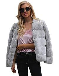 8b691ac0432d FNKDOR Manteau Femme Epais d hiver Automne Fausse Fourrure Veste Blouson  élégant Chaud Cardigan Fluffy
