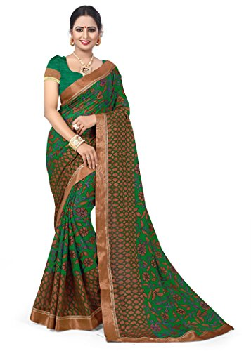 Oomph! Women's Printed Brasso Sarees - Emerald Green