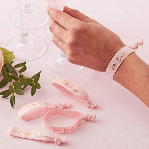 Ginger Ray Pink Team Bride Wrist Bands - Floral Hen Range by