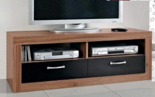 8011 - TV-Teil / Fernseh-Tisch / Lowboard, walnuss / schwarz