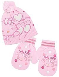 ed9935d4f872 Bonnet et moufles bébé fille Hello kitty Rose et Ecru de 9 à 36 mois