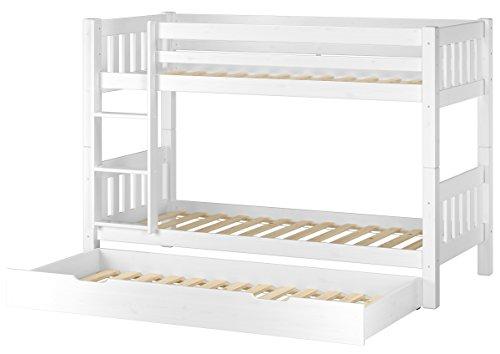 Erst-Holz® Schönes Etagenbett Kiefer Massivholz weiß 90x200cm Stockbett + Gästebettkasten 60.06-09WS7 (Etagenbett Massivholz)