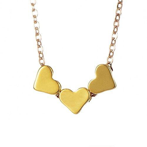 4 Lieben-familie Kinder Halskette (Outflower 1 Stück Kupfer Halskette Necklaces Kette Damen Herz Anhänger Schmuck Geschenk für Damen)