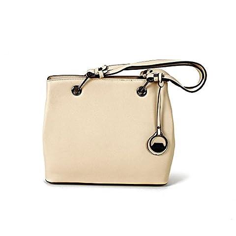 Damen Handtasche Henkeltasche Schultertasche Umhängetasche Tasche farbauswahl (BEIGE)