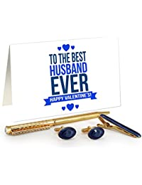 TiedRibbons® Valentine Gift For Husband Golden Cufflinks,Tiepin And Pen Combo Set With Valentine's Special Greeting...