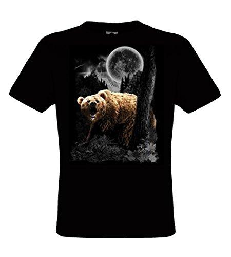 DarkArt-Designs Grizzly Wilderness - Bären T-Shirt für Kinder und Erwachsene - Tiermotiv Shirt Wildlife Lifestyle regular fit Black