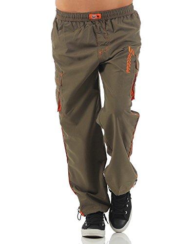 SUCCESS Jungen Cargo Hose Sport Wear Knaben Chino Stoff Hose 5 Pocket Regular Fit Freizeithose (134, 6067-olive)