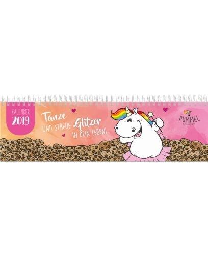 Pummeleinhorn Tischkalender mit Spirale 2019 - Pummelfee (orange/rosa)