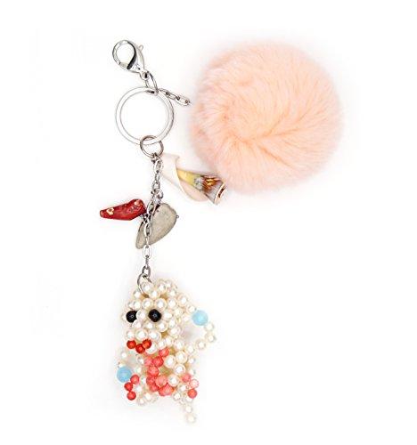 Portachiavi per borsa a mano Acciaio, Pompon Pelliccia Coniglio colore Pesca. Conchiglia e bambù. Scimmia vere perle di cultura di acqua dolce.