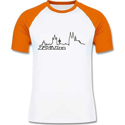 Skyline - Köln Skyline - zweifarbiges Baseballshirt für Männer Weiß/Orange